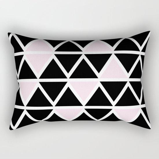 Abstract geometric triangle pattern- pink-black Rectangular Pillow