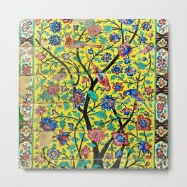 Persian Flowers and Birds Tile Mosaic, Shiraz, Iran Metal Print