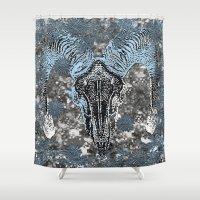 ram Shower Curtains featuring Ram by Saundra Myles