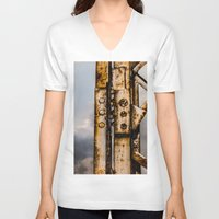 industrial V-neck T-shirts featuring Industrial landscape by vientocuatro