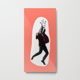 Giraffe in a Suit by Debbie Porter Metal Print