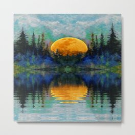 HARVEST MOON WILDERNESS LAKE LANDSCAPE Metal Print