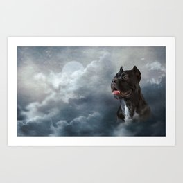 Drawing oil painting dog breed Cane Corso Art Print