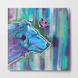 Blue Bear King Metal Print