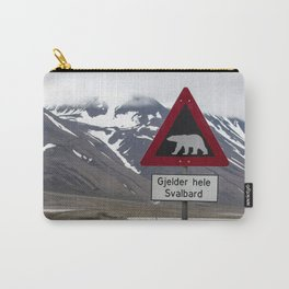 Polar bears traffic sign in Svalbard Carry-All Pouch