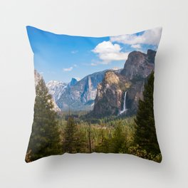 Bridalveil Fall Landscape, Yosemite Throw Pillow