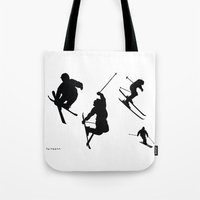 skiing Tote Bags featuring Skiing silhouettes by By Myyna