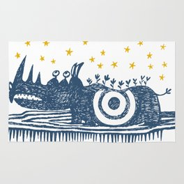 rhinoceros stares into the stars Rug