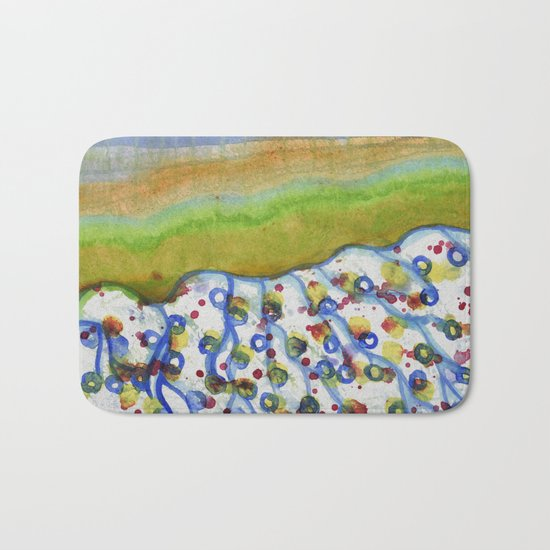 Curved Hill with Blue Rings Bath Mat