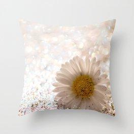 GLITTER & DAISY GOLD Throw Pillow