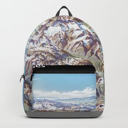 Heinrich Berann - Panoramic Painting of the North Cascades with labels (1987) Backpack