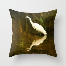 White Heron on Mill pond Throw Pillow
