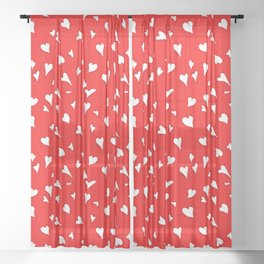 Scattered Hand-Drawn White Painted Hearts Pattern on Bright Red Sheer Curtain