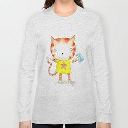 Ginger kitten watercolour Long Sleeve T-shirt