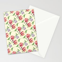Botanical pink coral lilac watercolor magnolia pattern Stationery Cards