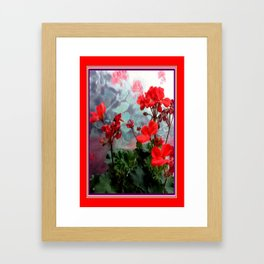 Red Geraniums Floral Red Abstract Framed Art Print