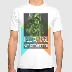 COTTAAGE TREE SMALL Mens Fitted Tee White