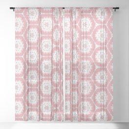Pink white Hexagon Pattern Sheer Curtain