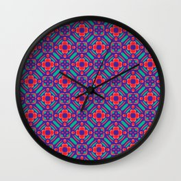 Origami Petals,Orange and Turquoise Wall Clock