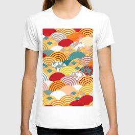 Nature background with japanese sakura flower, orange red pink Cherry, wave circle pattern T-shirt