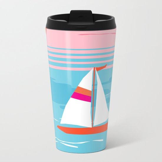 Mellow Out - memphis throwback retro classic neon yacht boating sailboat ocean sea 1980s 80s pop art Metal Travel Mug