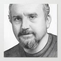 louis ck Canvas Prints featuring Louis CK Portrait by Olechka