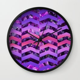 Amethyst Sunset -Wide Chevrons Wall Clock