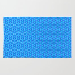 Aqua and Blue Floral and Diamond Pattern Rug