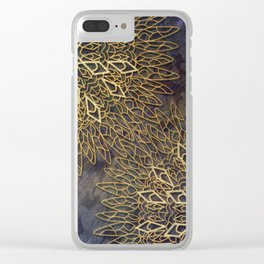 Gold Mandalas on Violet Background Clear iPhone Case