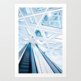 Modern interior with stairs Art Print