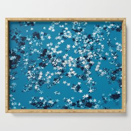 Blue Ocean Glitter Stars #1 #shiny #decor #art #society6 Serving Tray