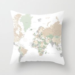 "World map with cities, ""Anouk"" Throw Pillow"