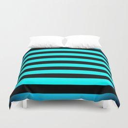 Stripes Aqua Blue & Black Duvet Cover