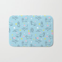Colorful Basset Hounds Pattern Bath Mat