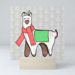 Christmas Llama Mini Art Print