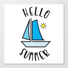 Hello Summer Sailing Canvas Print