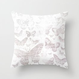 Silver Butterflies,shabby chic, pattern Throw Pillow