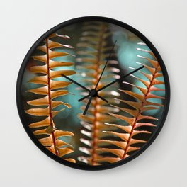 Autumn Ferns in Orange and Blue Wall Clock