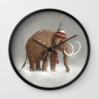grey Wall Clocks featuring The Ice Age Sucked by Terry Fan