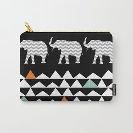 Tribal Elephants, Aztec Andes Pattern Carry-All Pouch