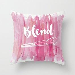 Pink Vanity Decor, Makeup Brush Illustration, Watercolour Throw Pillow