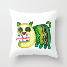 Screaming Kitty Throw Pillow