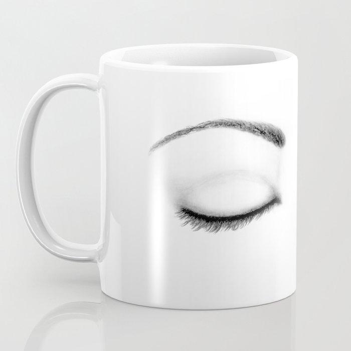 Closed Eyes Original Sketch Drawing - Eyes Art, Apparel and Accessories Coffee Mug