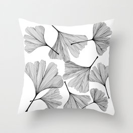 Gingko black and white line drawing Throw Pillow