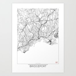 Bridgeport Map White Art Print