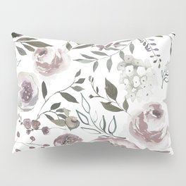 dusty rose floral watercolor Pillow Sham