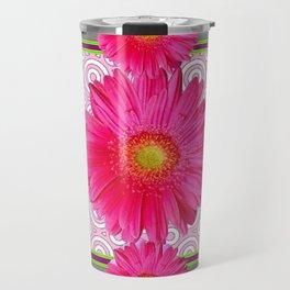 Fuchsia Gerbera & Shasta Daisy  Pink-Grey Pattern Art Travel Mug
