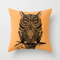 owl Throw Pillows featuring Warrior Owl 2 by Rachel Caldwell