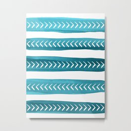 Teal Tribal Brushstrokes Watercolor Pattern Metal Print