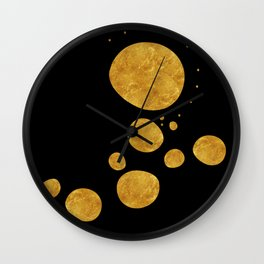 """Golden dots & black background"" Wall Clock"